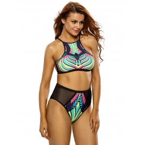 Printed High Neck High Waisted Racerback Bikini Set - BLACK M