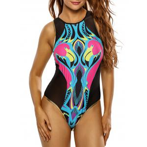 Mesh Insert Colored One Piece Swimwear