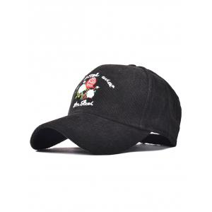Corduroy Fitted Baseball Cap with Roses Embroidery - Black - One Size