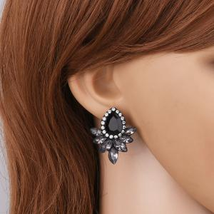 Rhinestone Teardrop Stud Earrings - Black - L