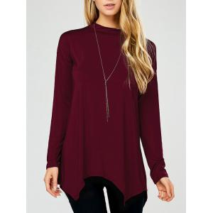 Long Sleeve Ribbed Top - Burgundy - M