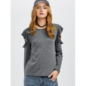 Flounce Cold Shoulder Tee - GRAY M