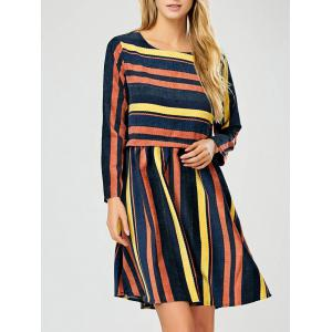 Long Sleeve Stripe Modest A-Line Dress