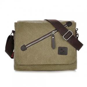 Canvas Zip Messenger Bag - Khaki