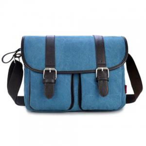 Double Buckle Straps Messenger Bag - Blue