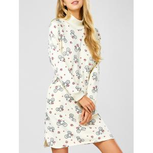 Long Sleeve Turtleneck Printed Shift Dress - Off-white - Xl
