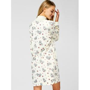 Long Sleeve Turtleneck Printed Shift Dress - OFF-WHITE M
