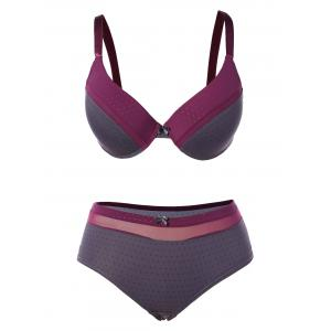 Color Block Padded Push Up Bra Suit - Purple - 95b