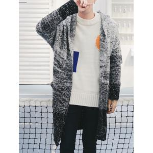Open Front Gradient Hooded Chunky Cardigan