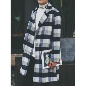 Wool Blend Long Lapel Double Breasted Checked Coat - Cadetblue - S