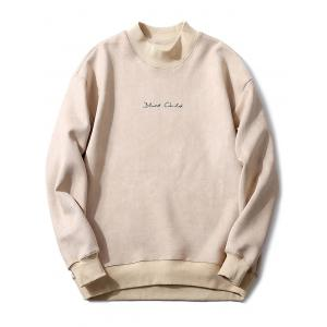 Mock Neck Embroidery Suede Sweatshirt
