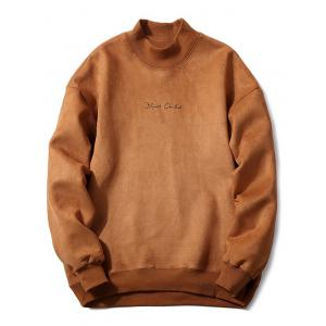 Mock Neck Embroidery Suede Brown Sweatshirt - Camel - M