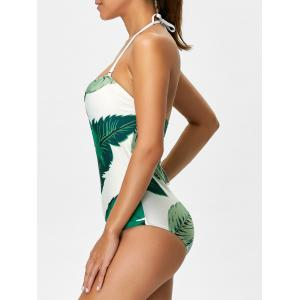 Printed Halter One Piece Swimsuit - WHITE AND GREEN M