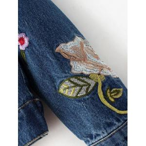 Flower Embroidered Jean Jacket -