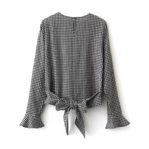 Gingham Check Cut Out Blouse -