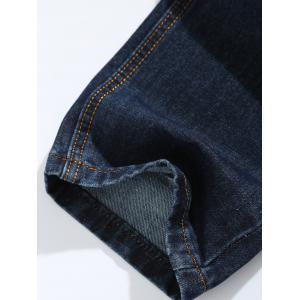 Zip Fly Straight Leg Jeans - DENIM BLUE 38