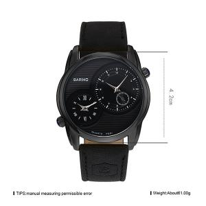 Faux Leather Vintage Quartz Watch - BLACK