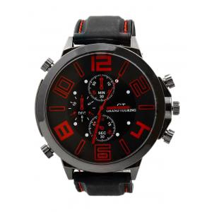 Outdoor Rubber Analog Number Watch - Red - 42