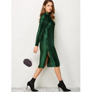 Stand Neck Long Sleeve Pleated Pleuche Dress - GREEN S