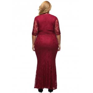 Lace Plus Size Bodycon Maxi Formal Dress with Sleeves - WINE RED XL