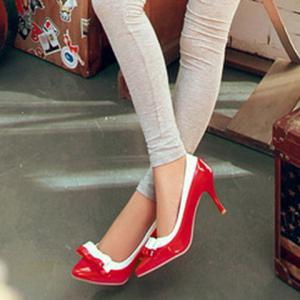 Colour Block Pointed Toe Bowknot Pumps - RED/WHITE 39