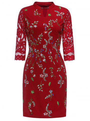 Affordable Keyhole Floral Embroidered Fitted Dress
