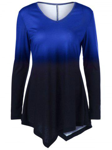 Chic Ombre Asymmetrical Tee - 2XL BLUE Mobile