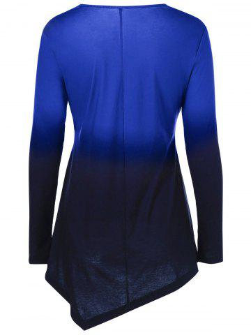 Outfits Ombre Asymmetrical Tee - XL BLUE Mobile