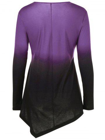 Outfit Ombre Asymmetrical Tee - 3XL PURPLE Mobile