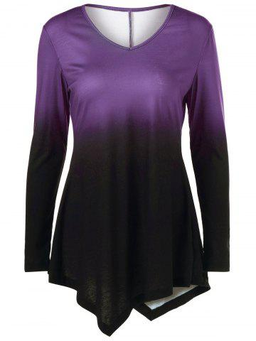 Outfit Ombre Asymmetrical Tee - 2XL PURPLE Mobile