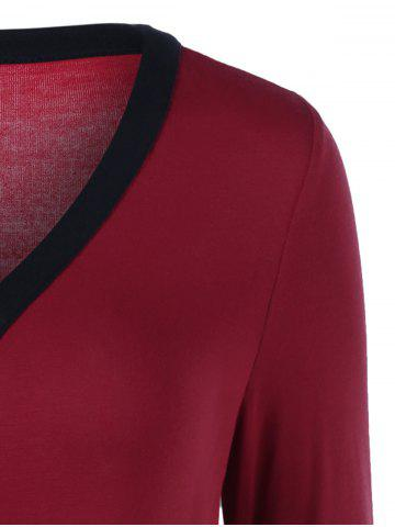 Trendy Plus Size Contrast Trim Asymmetrical Tee - 2XL RED WITH BLACK Mobile