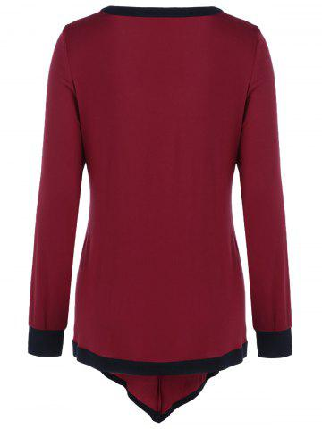 Trendy Plus Size Contrast Trim Asymmetrical Tee - 3XL RED WITH BLACK Mobile