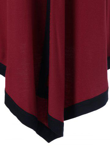 Outfits Plus Size Contrast Trim Asymmetrical Tee - 4XL RED WITH BLACK Mobile