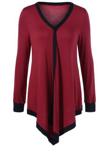 Shop Plus Size Contrast Trim Asymmetrical Tee - 4XL RED WITH BLACK Mobile