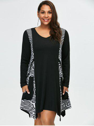 Chic Plus Size Long Sleeve Asymmetrical Casual Dress with Pockets - 4XL WHITE AND BLACK Mobile
