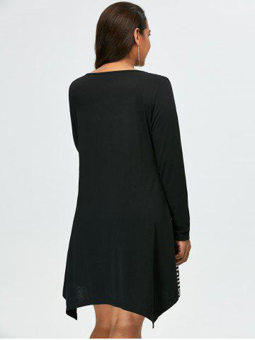 Outfit Plus Size Long Sleeve Asymmetrical Casual Dress with Pockets - 5XL WHITE AND BLACK Mobile