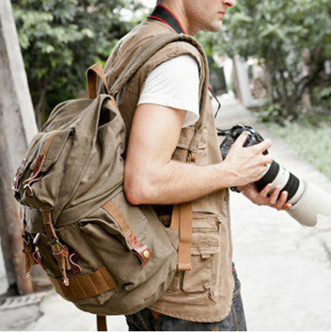Trendy Canvas Buckle Straps Camera Backpack - KHAKI  Mobile