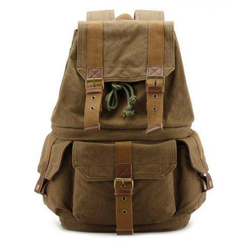 Buy Buckle Straps Canvas Camera Backpack - KHAKI  Mobile