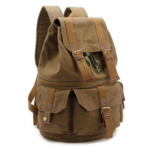 Hot Buckle Straps Canvas Camera Backpack - KHAKI  Mobile