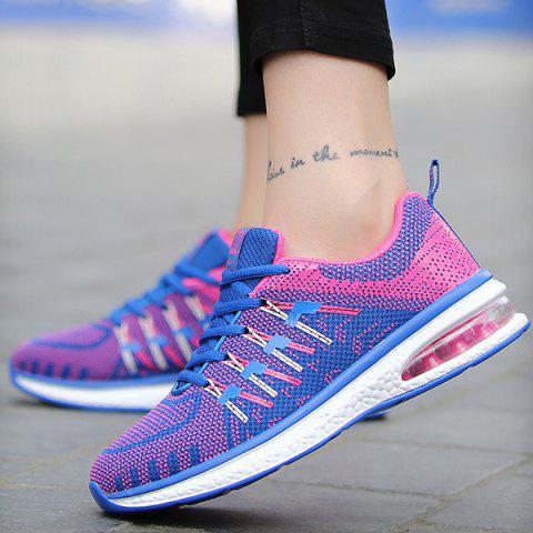 Fashion Lace Up Color Block Breathable Athletic Shoes - 39 ROSE RED Mobile