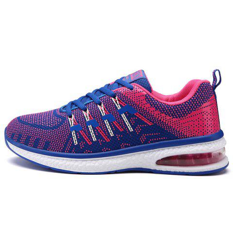 Chic Lace Up Color Block Breathable Athletic Shoes - 40 ROSE RED Mobile