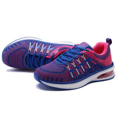 Chic Lace Up Color Block Breathable Athletic Shoes - 37 ROSE RED Mobile
