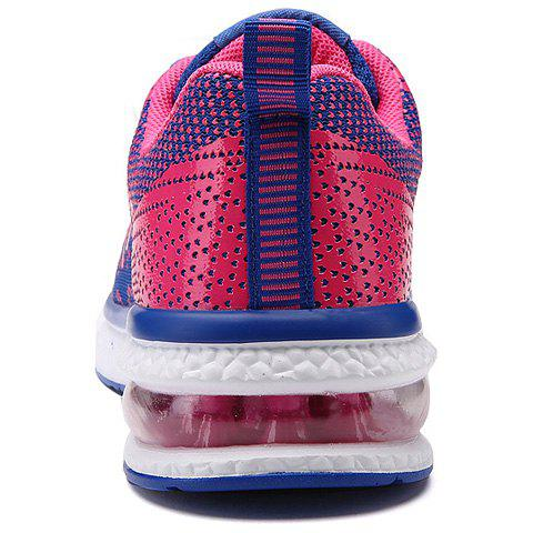 Shop Lace Up Color Block Breathable Athletic Shoes - 37 ROSE RED Mobile
