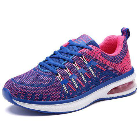Cheap Lace Up Color Block Breathable Athletic Shoes - 37 ROSE RED Mobile