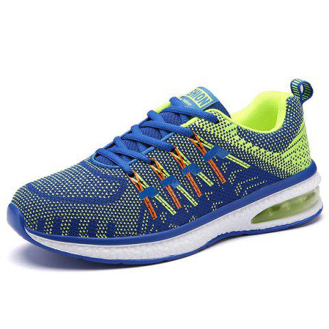 Unique Lace Up Color Block Breathable Athletic Shoes - 38 BLUE Mobile