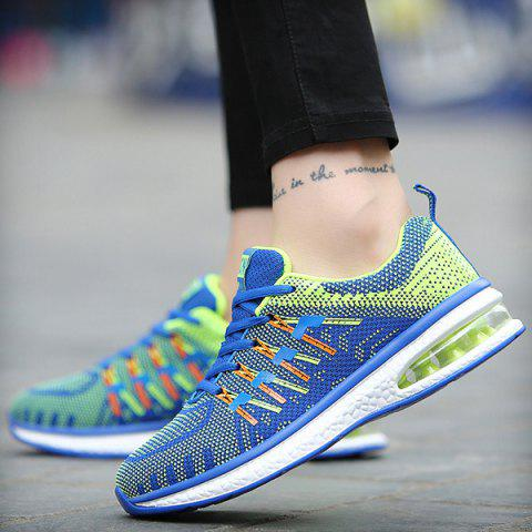 Fashion Lace Up Color Block Breathable Athletic Shoes - 38 BLUE Mobile