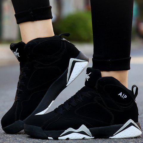 Outfit Suede Colour Block Lace Up Athletic Shoes - 38 WHITE AND BLACK Mobile