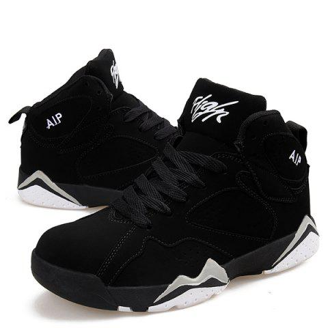 Trendy Suede Colour Block Lace Up Athletic Shoes - 38 WHITE AND BLACK Mobile