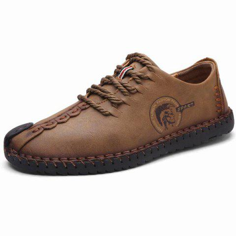 Unique Faux Leather Stitching Lace Up Casual Shoes BROWN 44
