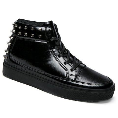 Rivets Tie Up High Top Casual Shoes - Black - 43